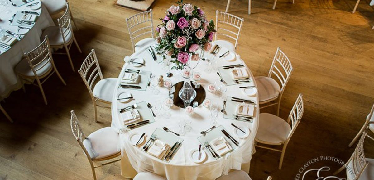 Wedding reception decorations for a Gaynes Park wedding