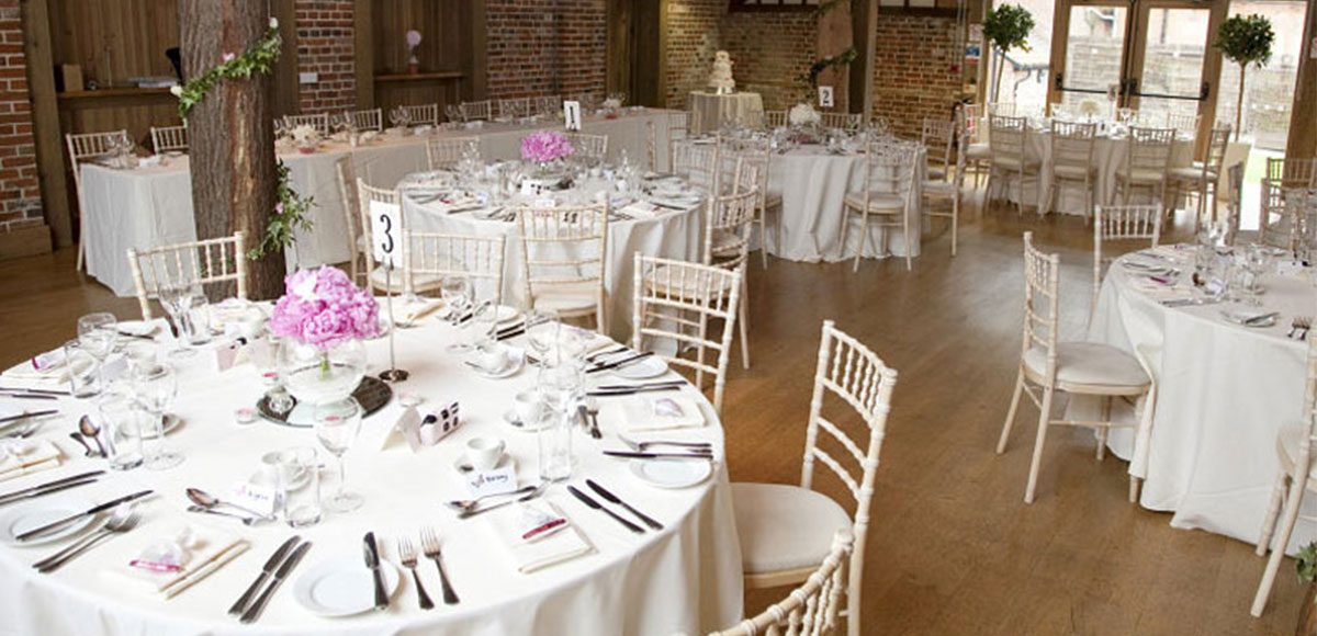 The Mill Barn decorated for a Gaynes Park wedding reception – wedding barns Essex