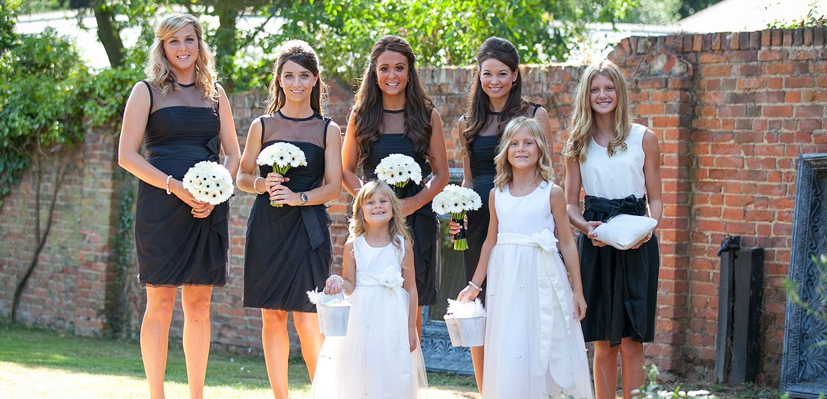 Bridesmaids dresses for a black and white themed wedding