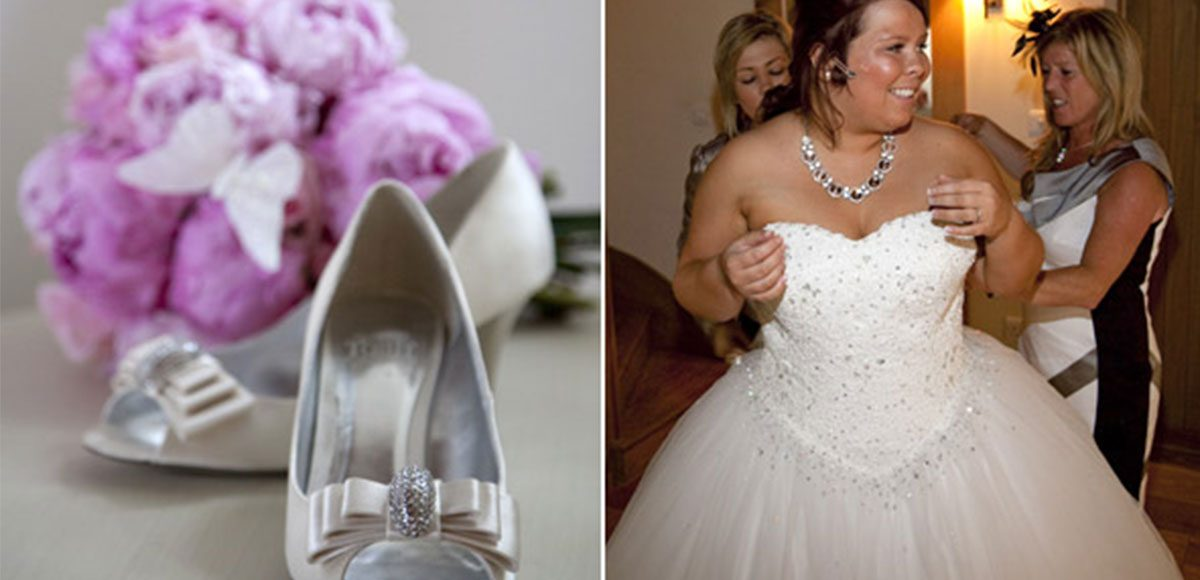 Bride's dress and shoes while she gets ready