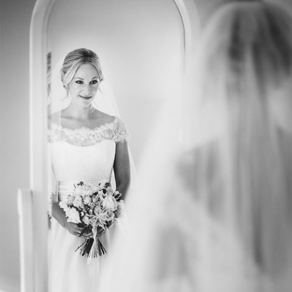 Bride ready for her Gaynes Park wedding ceremony – wedding venues in Essex