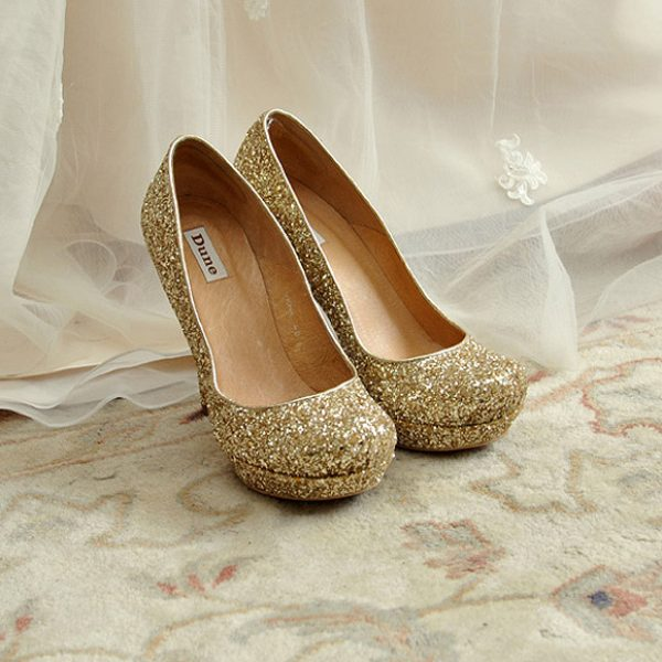 Gold glittered bridal shoes by Dune