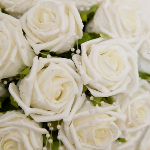 Cream roses for a bridal bouquet
