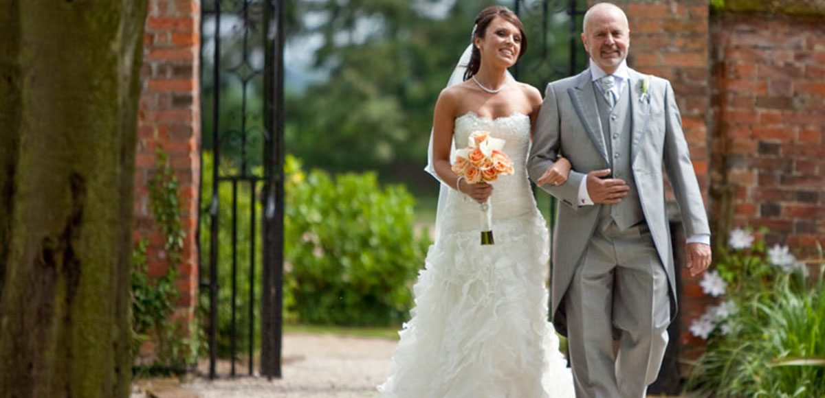 Bride with her father walking down the Long Walk at Gaynes Park – wedding venues in Essex
