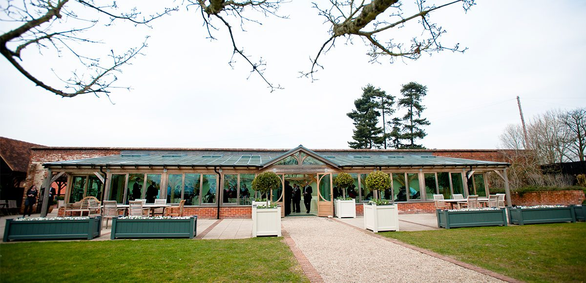 Outside of Gaynes Park's Orangery – venue hire essex