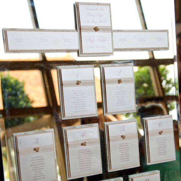 Mirror used as a table plan – wedding barns Essex
