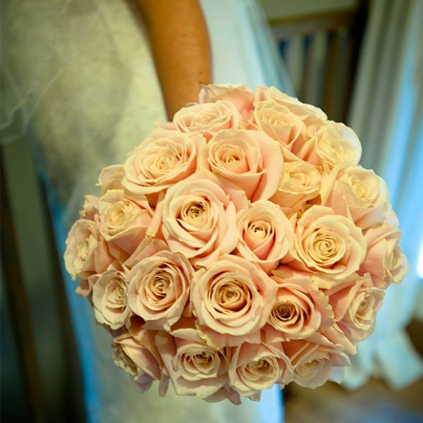 Pink rose bouquet for a Gaynes Park bride