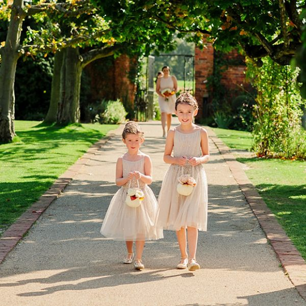 Blush and sequin little bridesmaid dresses