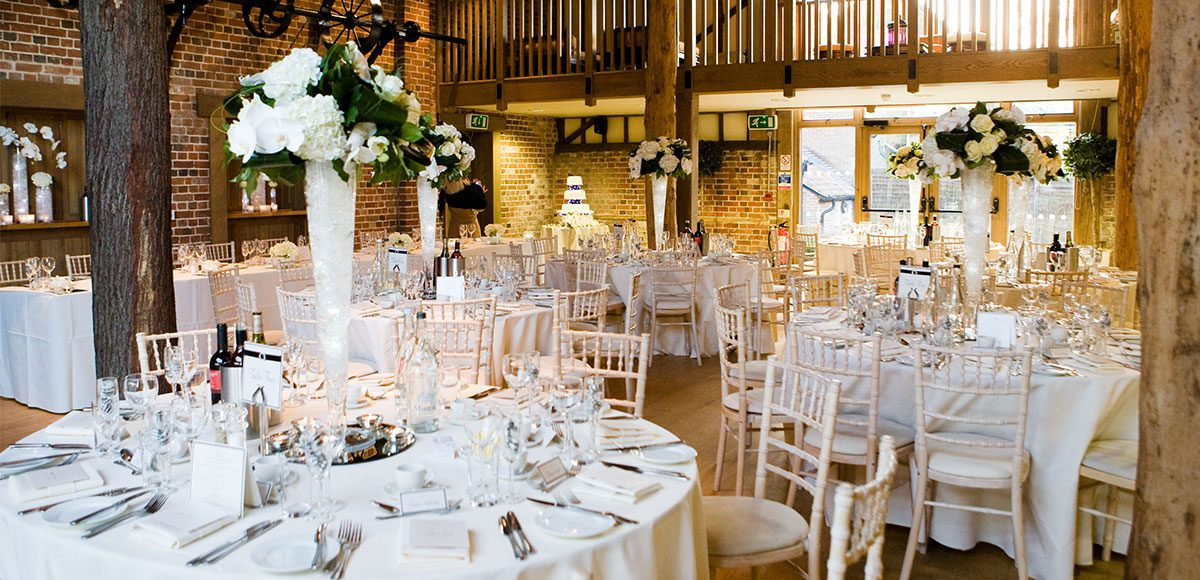 Mill Barn set up for a wedding reception – wedding barns Essex
