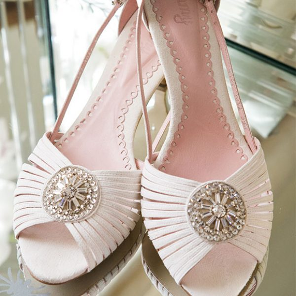 Embellished shoes for the bride at Gaynes Park – barn wedding venues