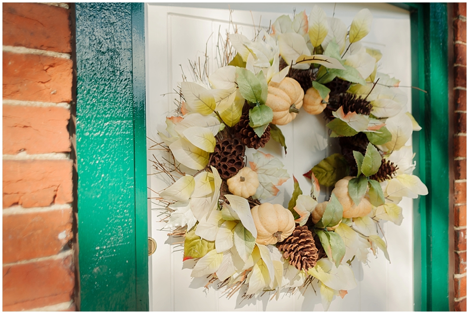 Autumn Wedding Wreath Peach Wedding Theme Gaynes Park