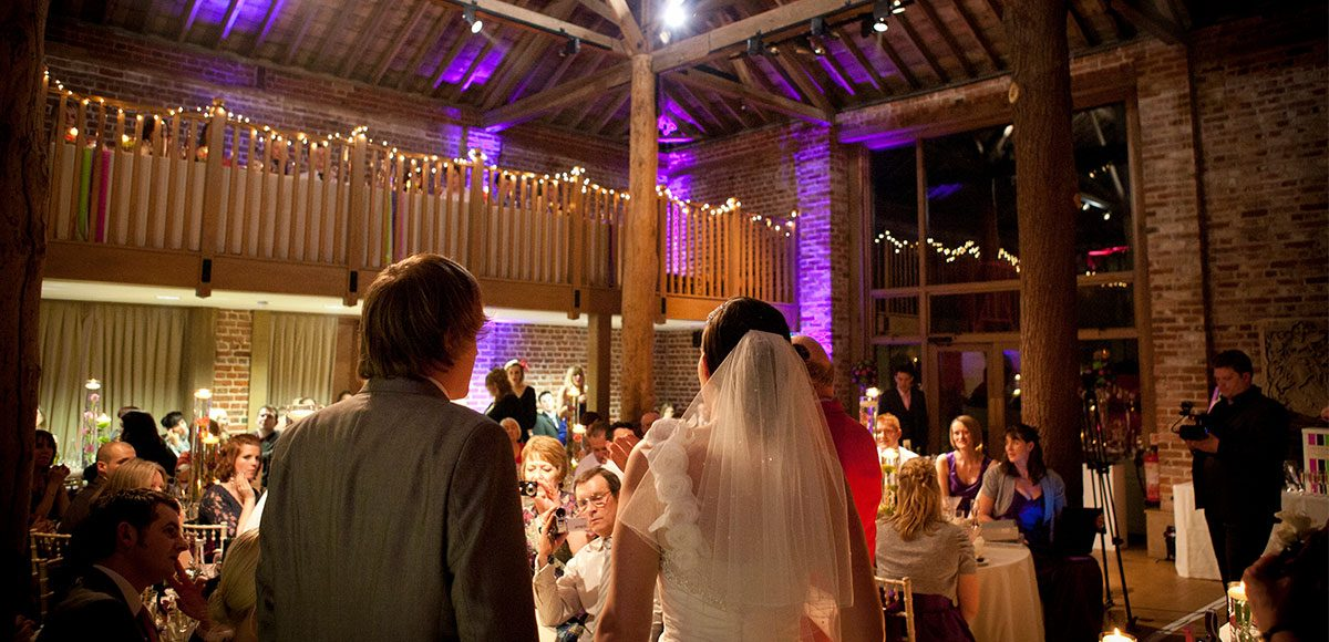 Bride and groom announced to wedding guests at their barn wedding reception