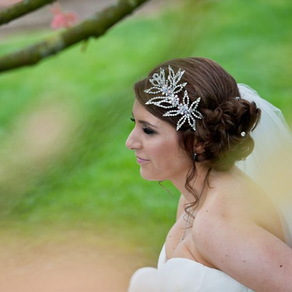 Bride's updo and headpiece