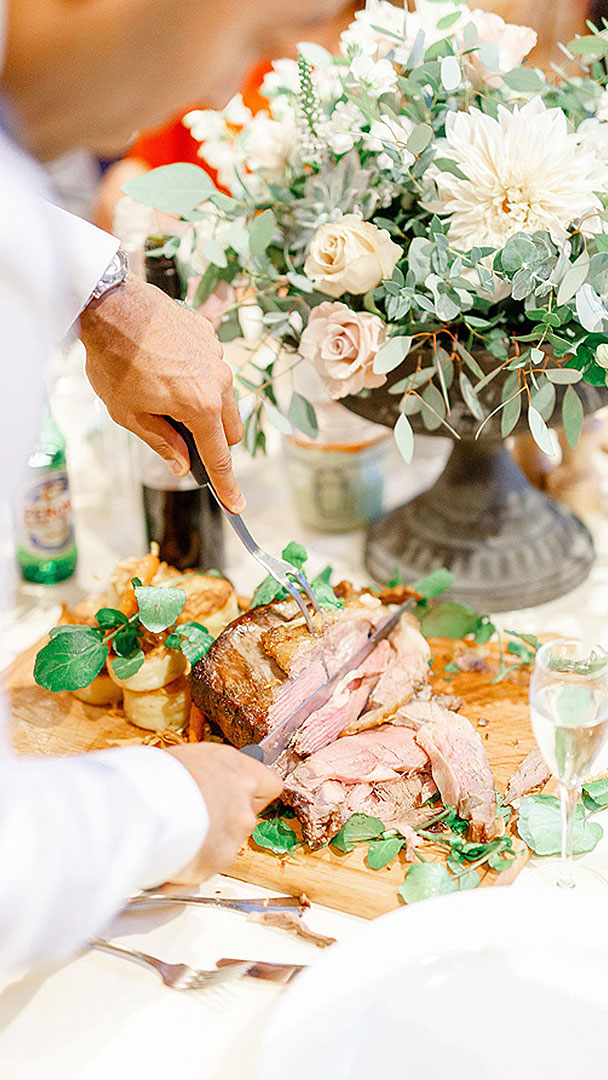 A traditional roast dinner is served to wedding guests perfect for a rustic wedding