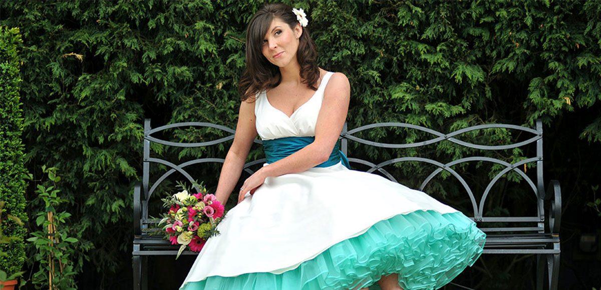 Bride in her teal vintage style wedding dress