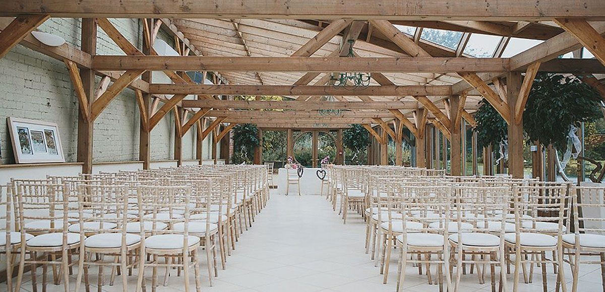 The orangery at Gaynes Park set the scene for a romantic civil ceremony