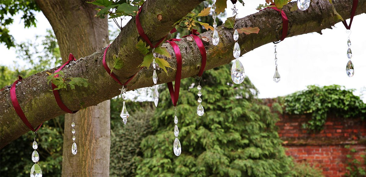Gems in the trees in the gardens at Gaynes Park wedding venue