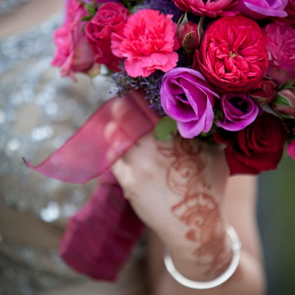 Bright pink flower bouquet for the bride