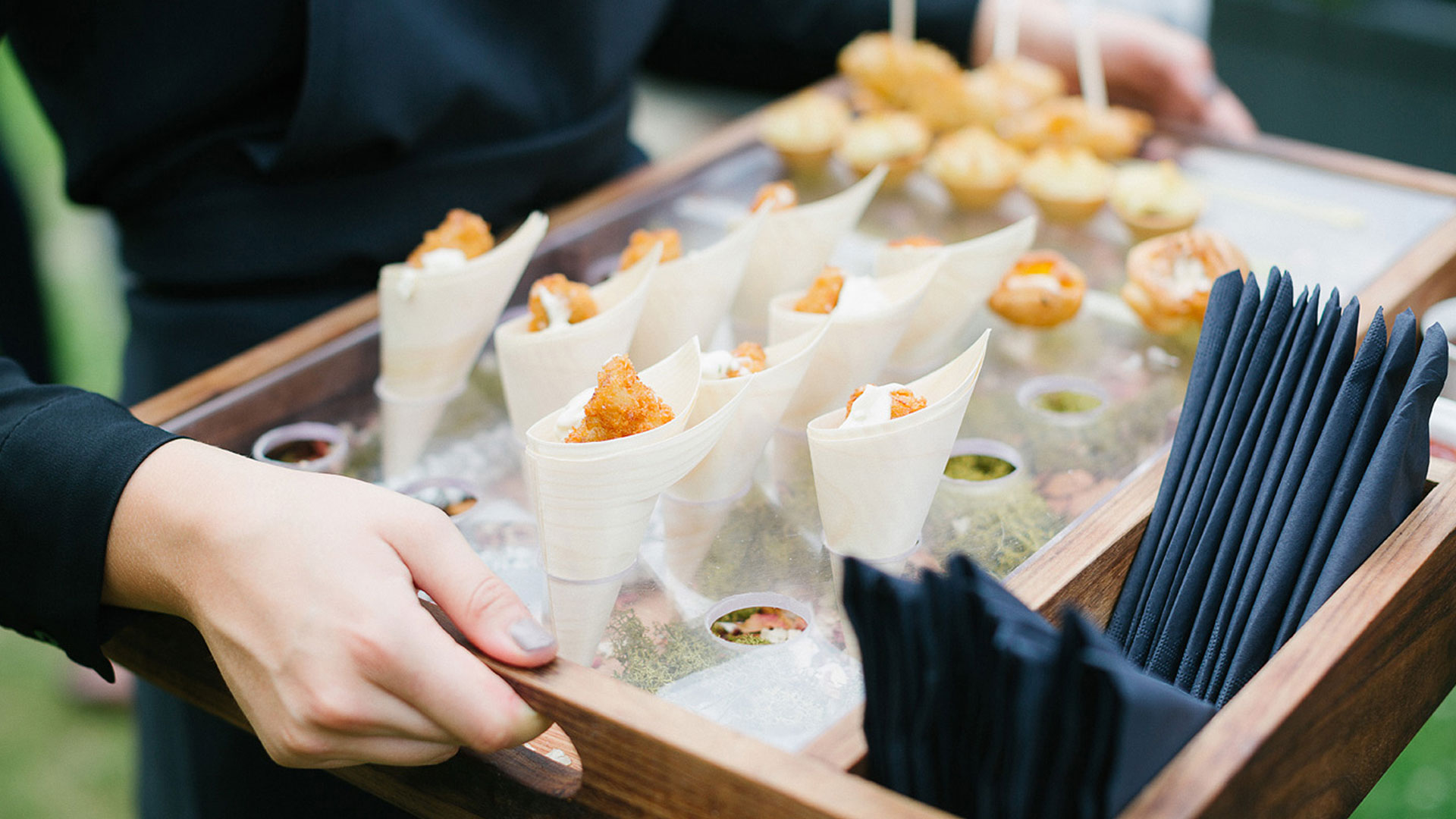 Our expert wedding team can serve up delicious wedding canapes to your wedding guest after your wedding ceremony