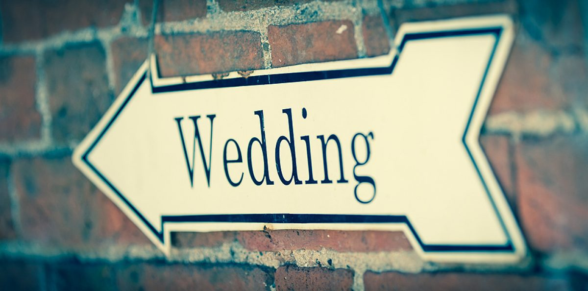 A wedding sign directing guests to the ceremony at Gaynes Park