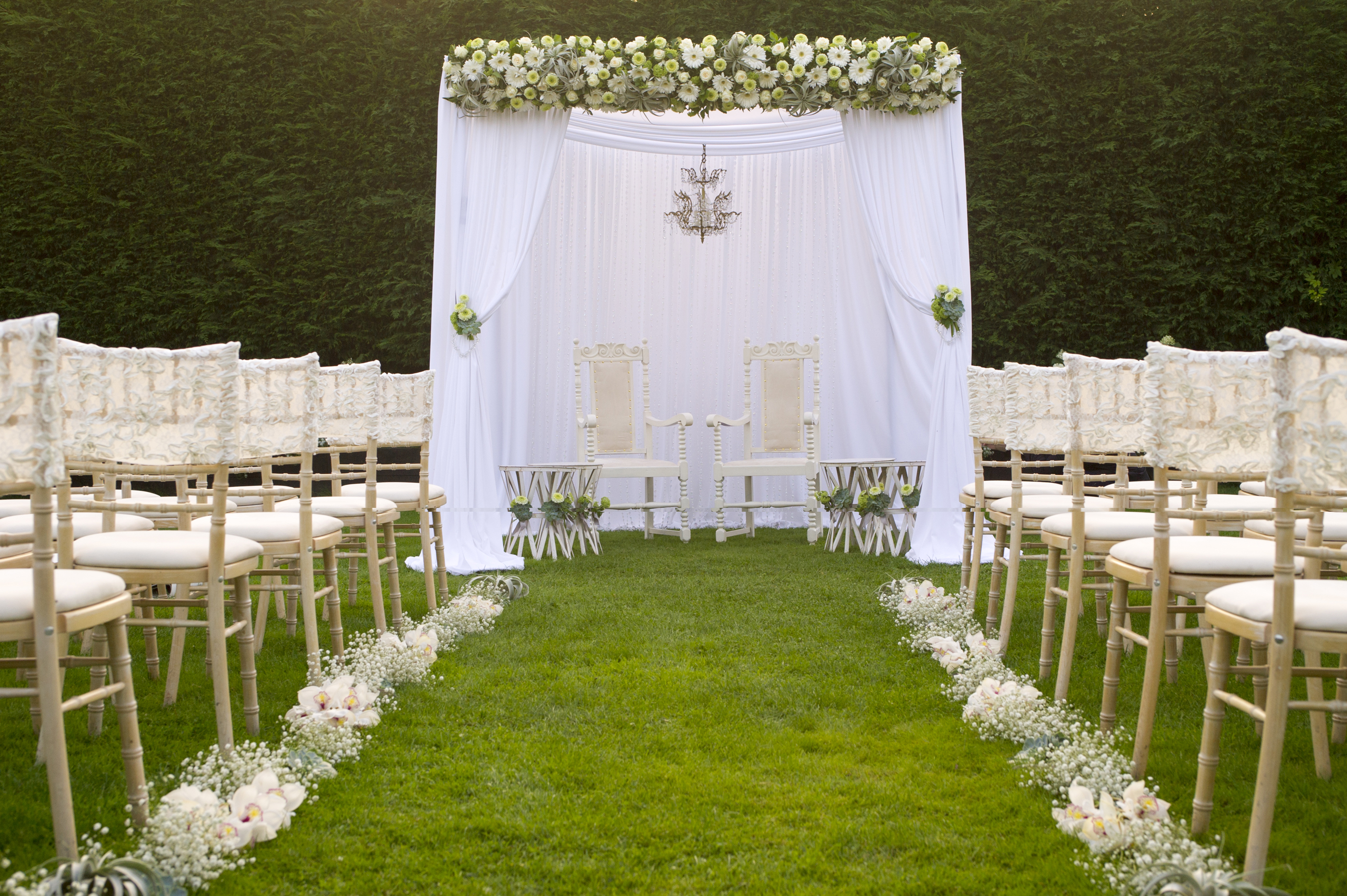White Drapes Garden Wedding Gaynes Park