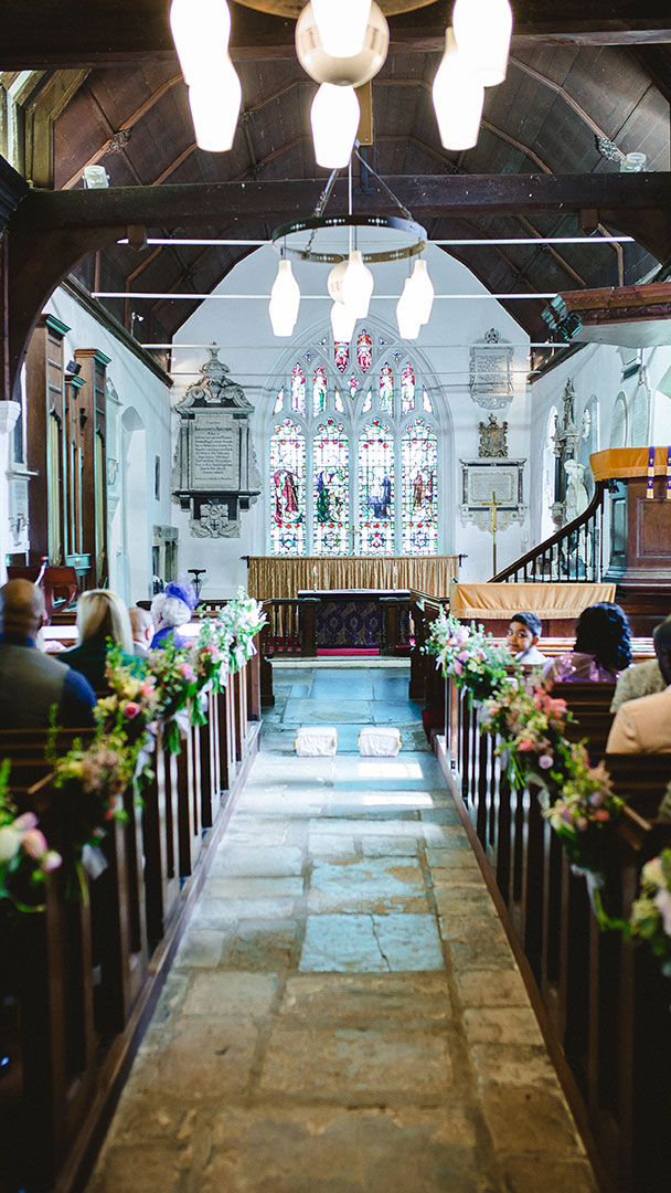 The wedding aisle at All Saints Church - wedding venues in Essex