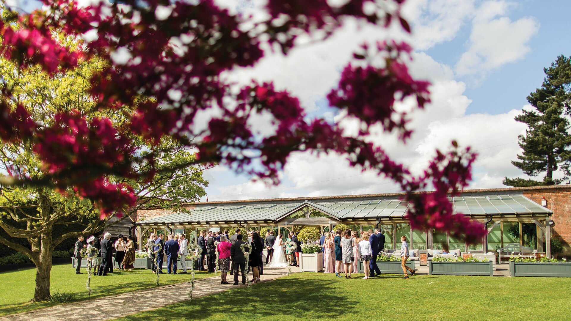 The Orangery is set at the end of the Long Walk in the beautiful Walled Garden at Gaynes Park wedding venue