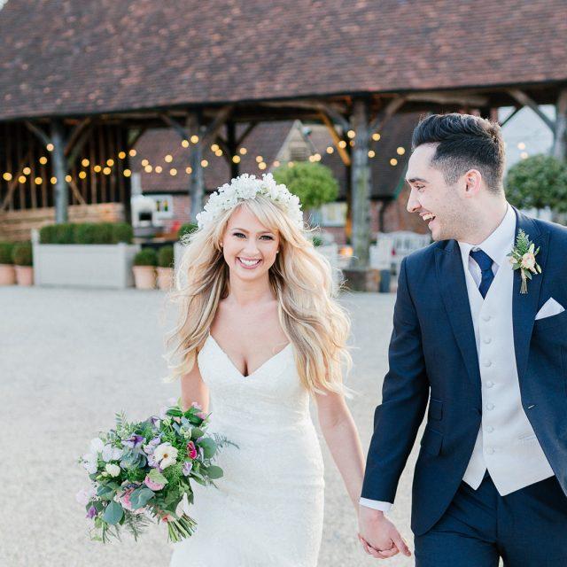 Bride And Groom Enjoying Amazing Sunset On A Beautiful: Barn Wedding Venues In Essex