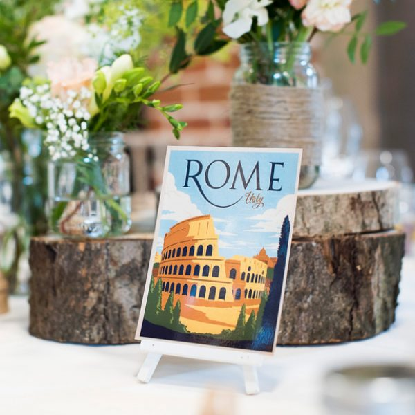Travel inspired table names for a wedding at Gaynes Park