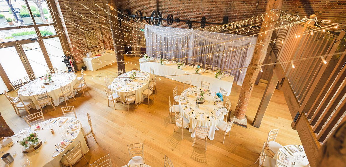 Mill Barn laid out for a country wedding