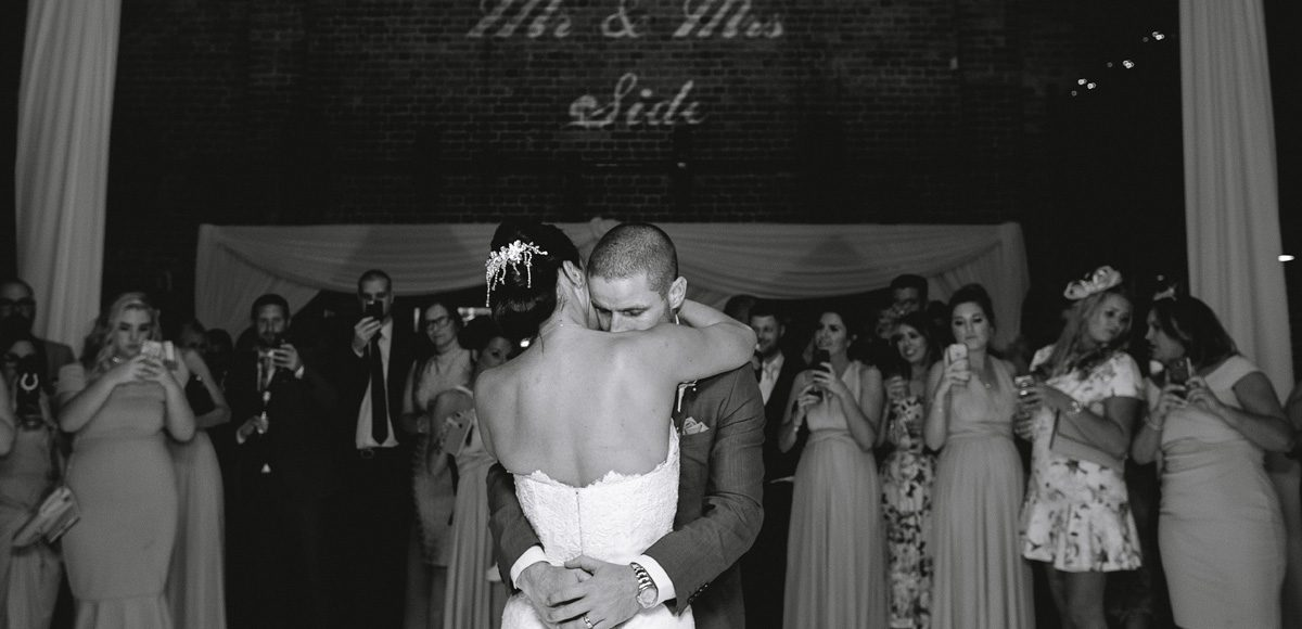 Bride nd groom first dance in the Mill Barn