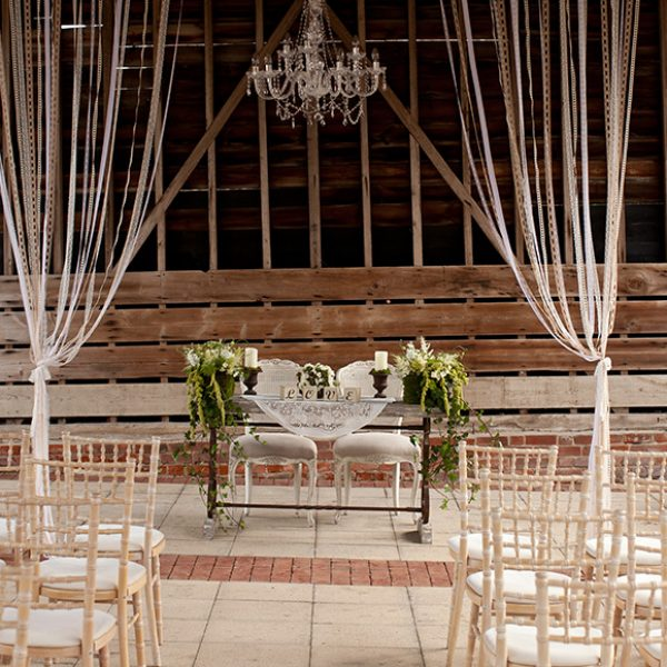 Stunning wedding decoration laid out in the Gather Barn