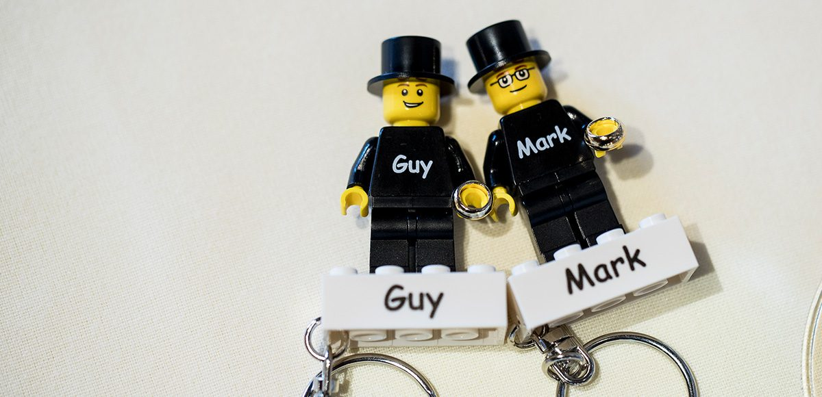 Each guest was given a Lego block keyring as a wedding favour – wedding ideas