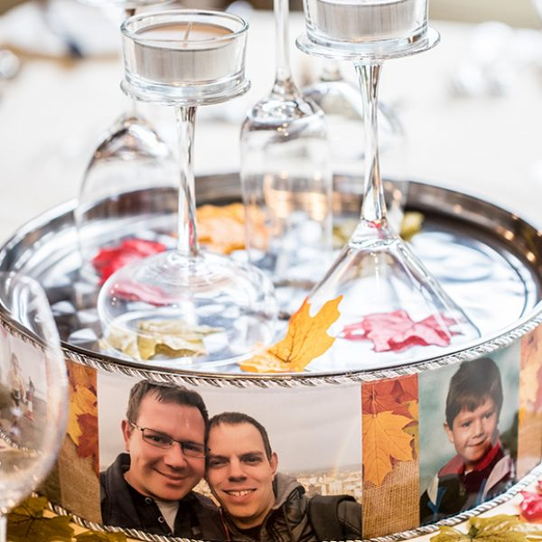 The wedding table centrepieces were circular mirrors with candles on top for a romantic feel