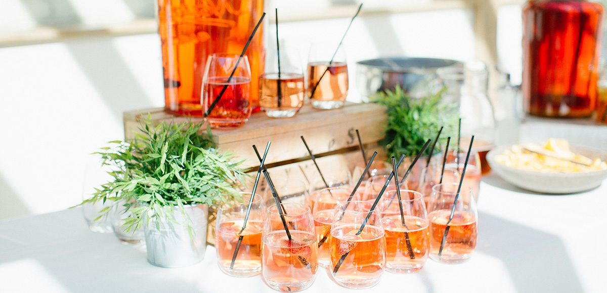 A close look at a selection of pink wedding drinks and cocktails – spring wedding ideas