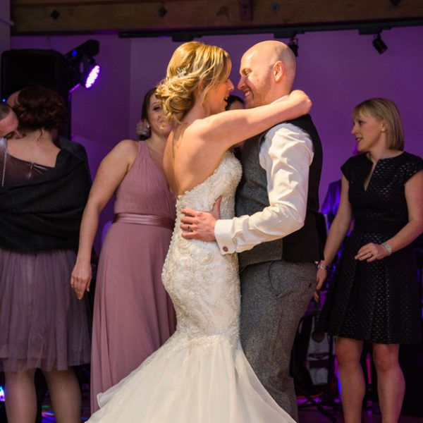 The newlyweds enjoy their first dance after their stunning wedding day at Gaynes Park