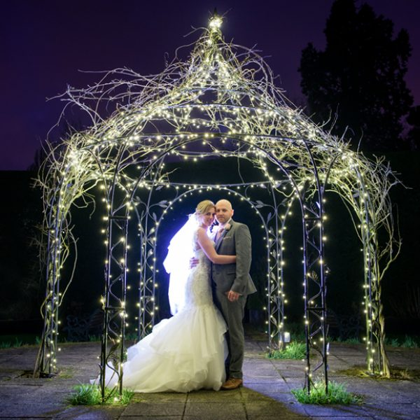 The pavilion is a perfect place for a magical evening wedding photo at Gaynes Park in Essex