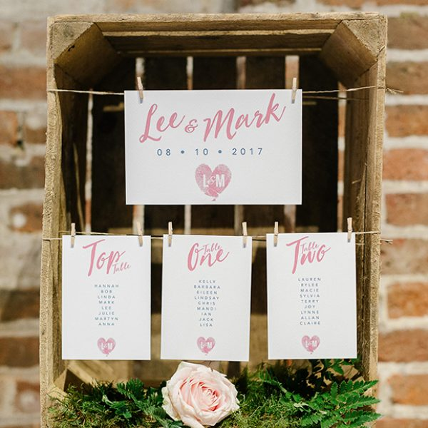 Apple crates were used to display the wedding table plan at this autumn wedding at Gaynes Park – wedding ideas