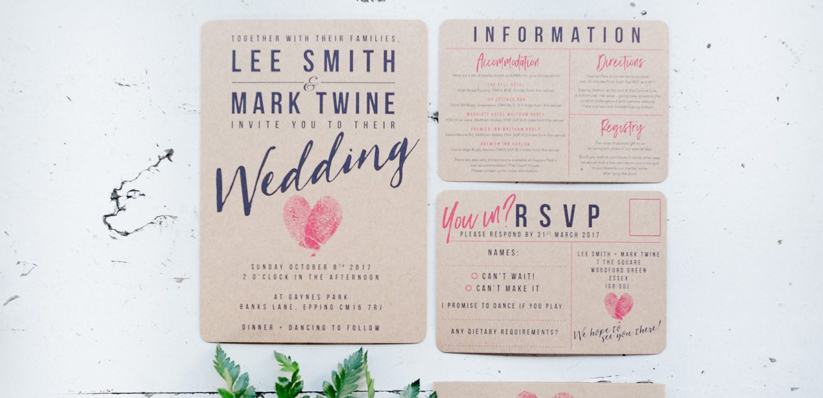 Add to a vintage wedding look by printing your wedding stationery on brown kraft board