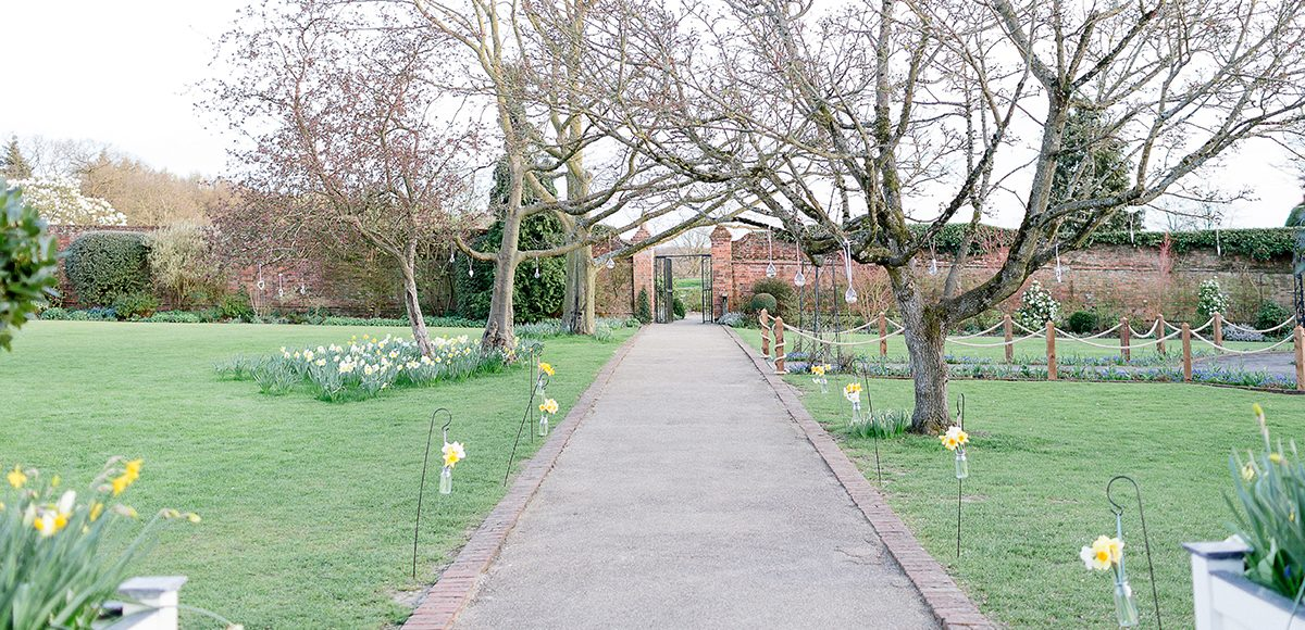 The walled garden at Gaynes Park is set for a spring wedding with daffodils lining the aisle