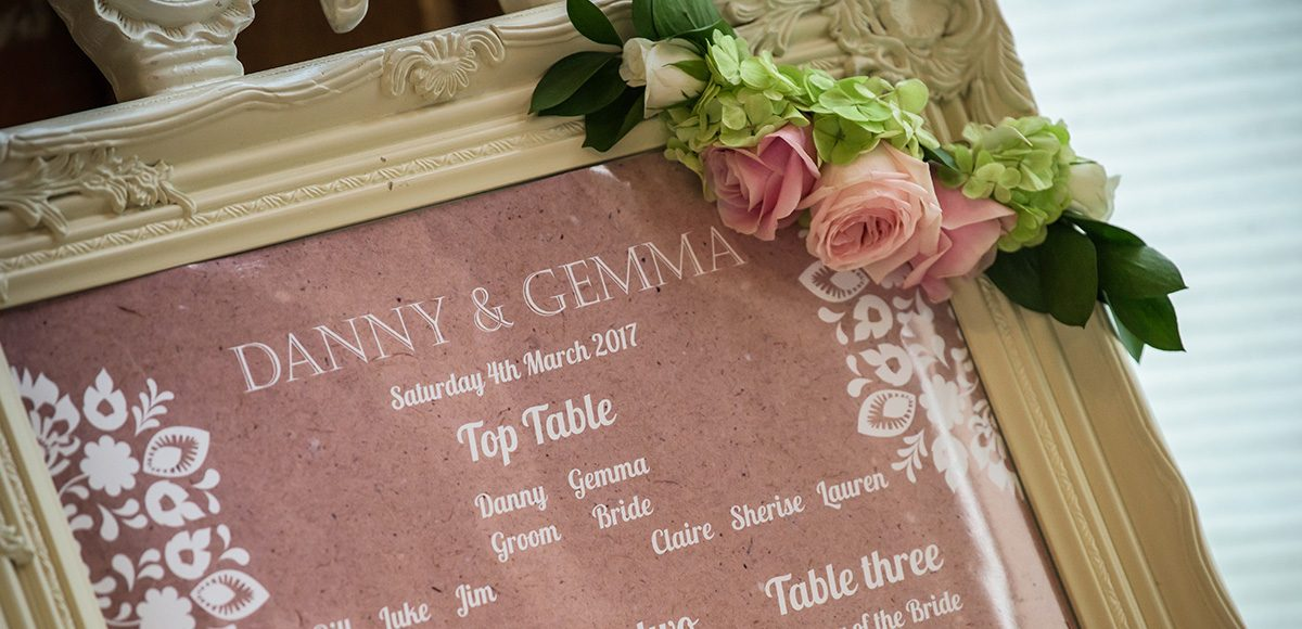 The wedding table plan is placed within a cream frame for a vintage wedding at Gaynes Park in Essex