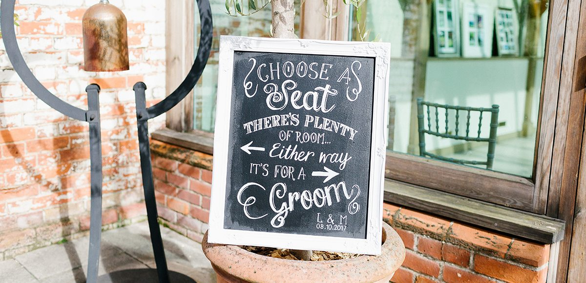 A wedding sign directs guests when entering the Orangery at Gaynes Park
