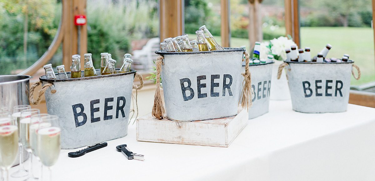 Provide your wedding guests with a selection of beer buckets during your drinks reception at Gaynes Park