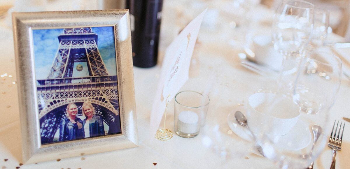 The couple chose to use places they had travelled to as table names for their reception at Gaynes Park