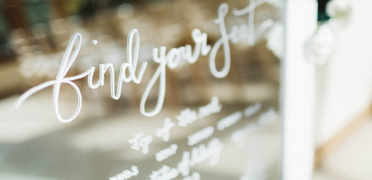 At this Essex wedding a mirror was illustrated with white calligraphy for an elegant wedding table plan