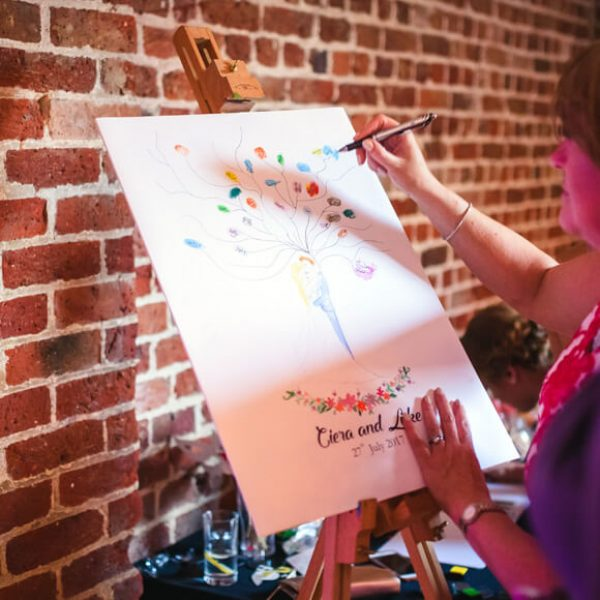 A fingerprint tree is a great wedding guest book idea for your wedding at Gaynes Park