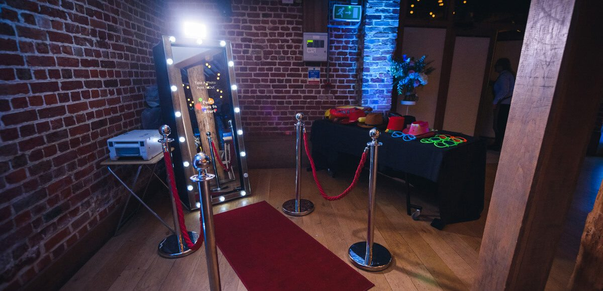 Provide a photobooth for guests to enjoy at your evening reception in the Mill Barn at Gaynes Park
