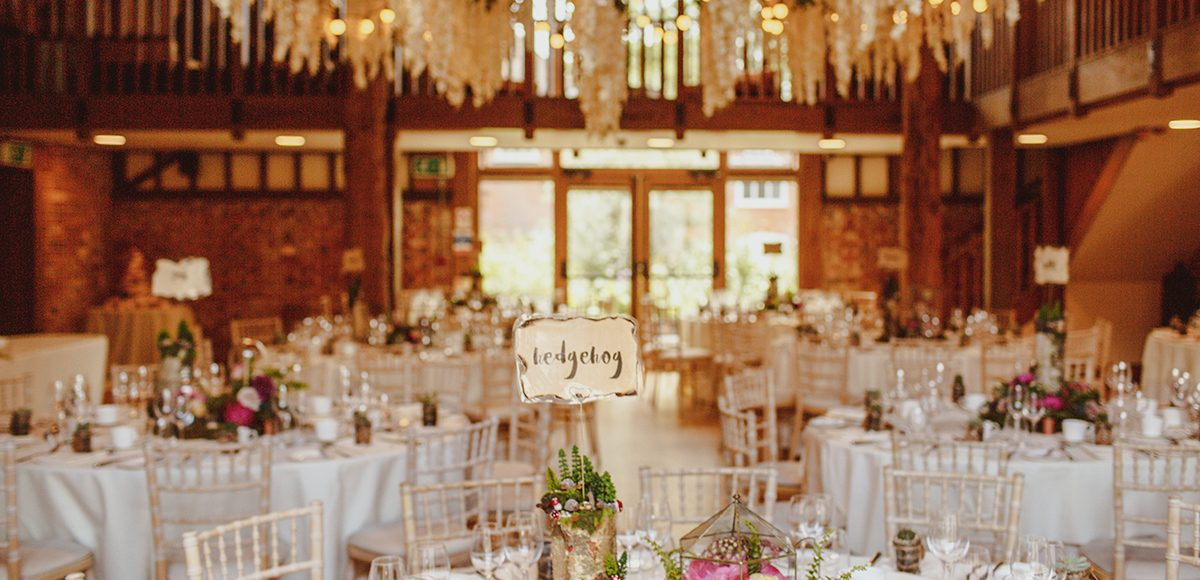 The Mill Barn at Gaynes Park in Essex is set for a rustic wedding breakfast