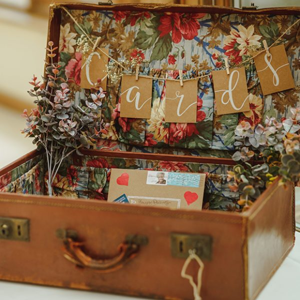 At this Essex wedding venue a couple used a vintage suitcase for guests to leave their wedding cards