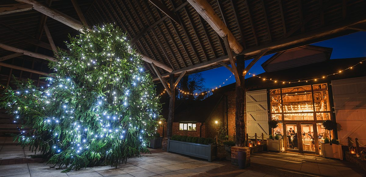 For all those wonderful winter weddings a giant Christmas tree is displayed in the Gather Barn at Gaynes Park